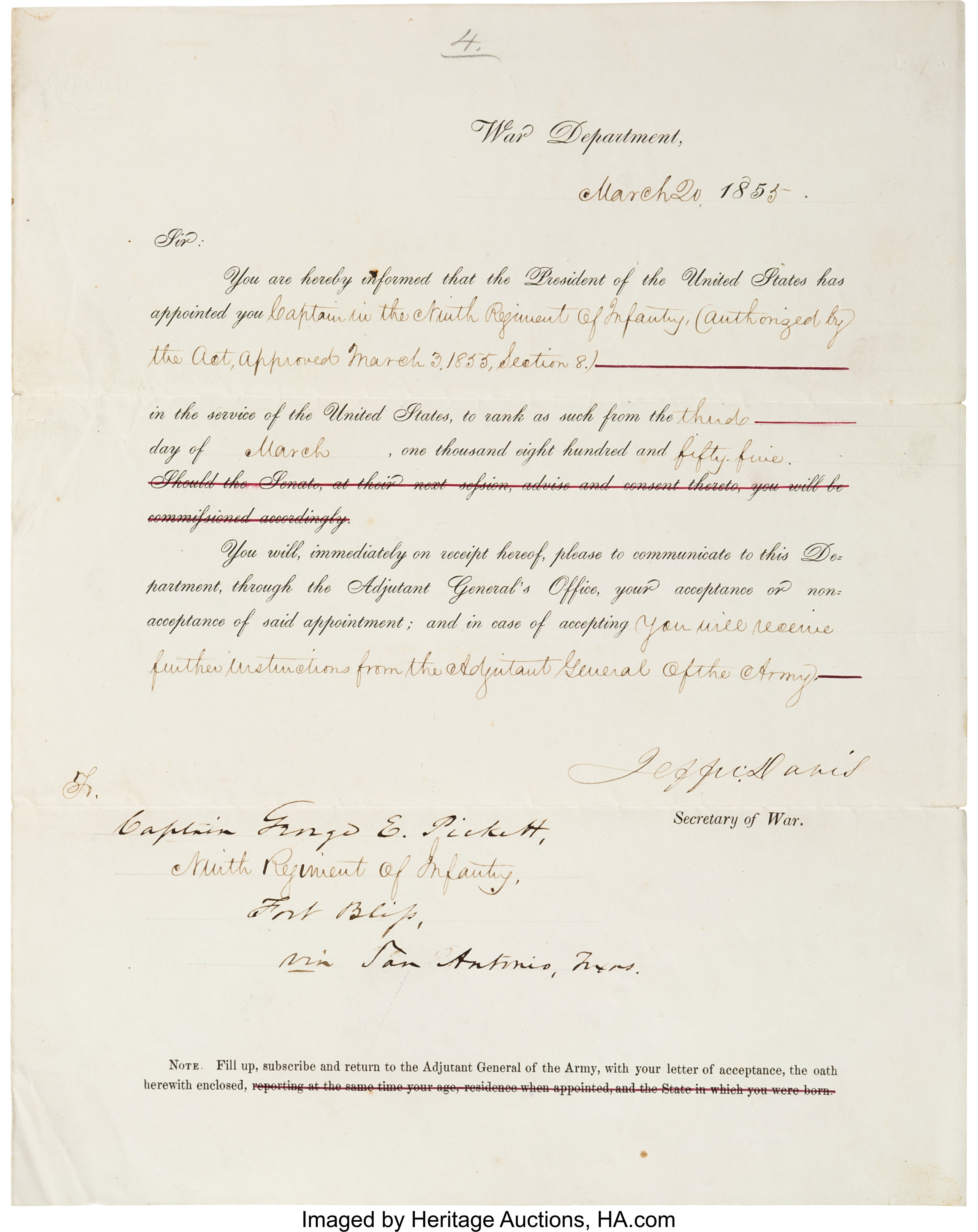 Jefferson Davis Document Signed