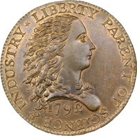 1792 Judd-4 Birch Cent, MS65 (Star) RB NGC