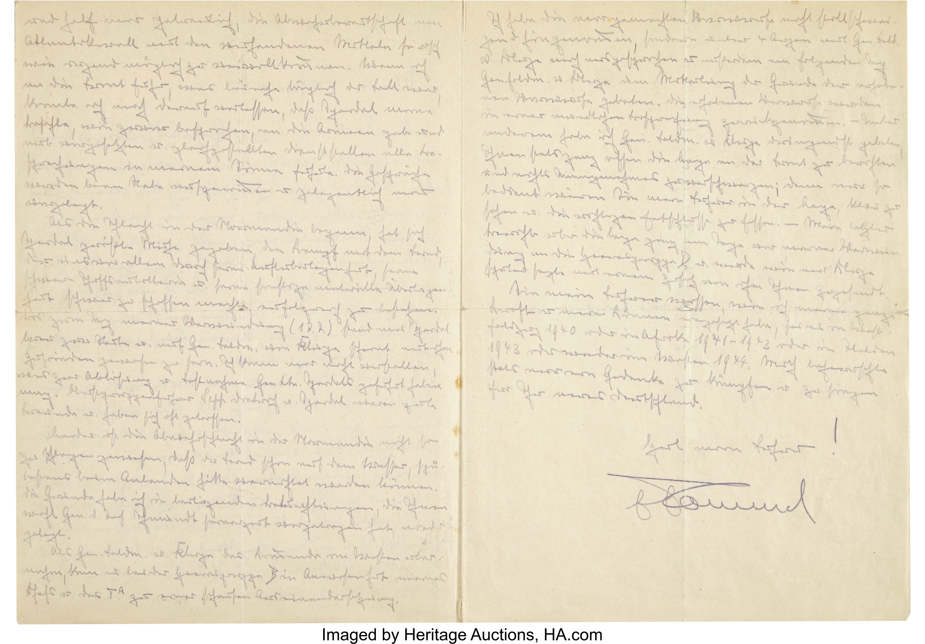 Erwin Rommel Autograph Letter Twice Signed to Adolf Hitler