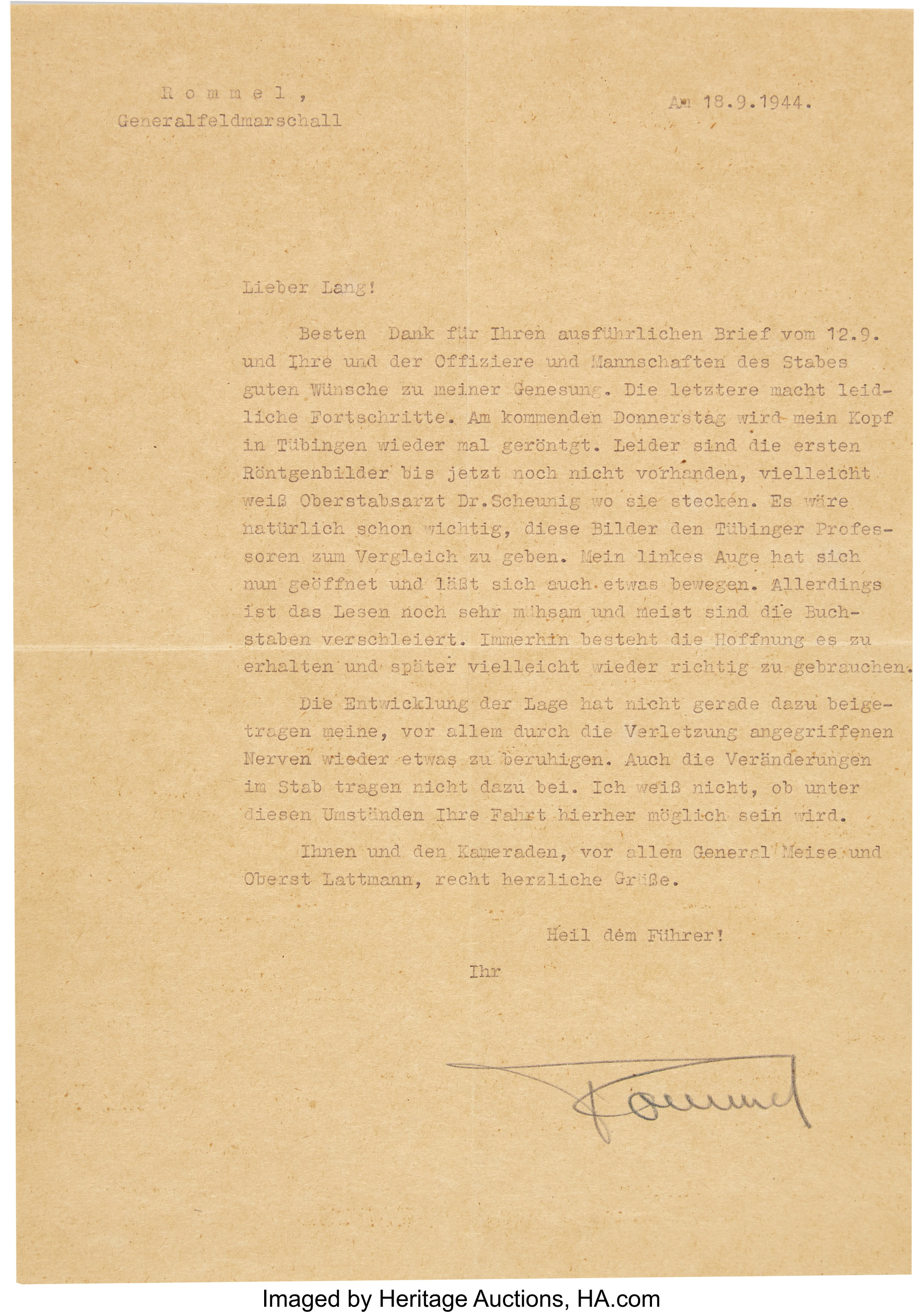 Erwin Rommel Typed Letter Signed to Captain Hellmuth Lang