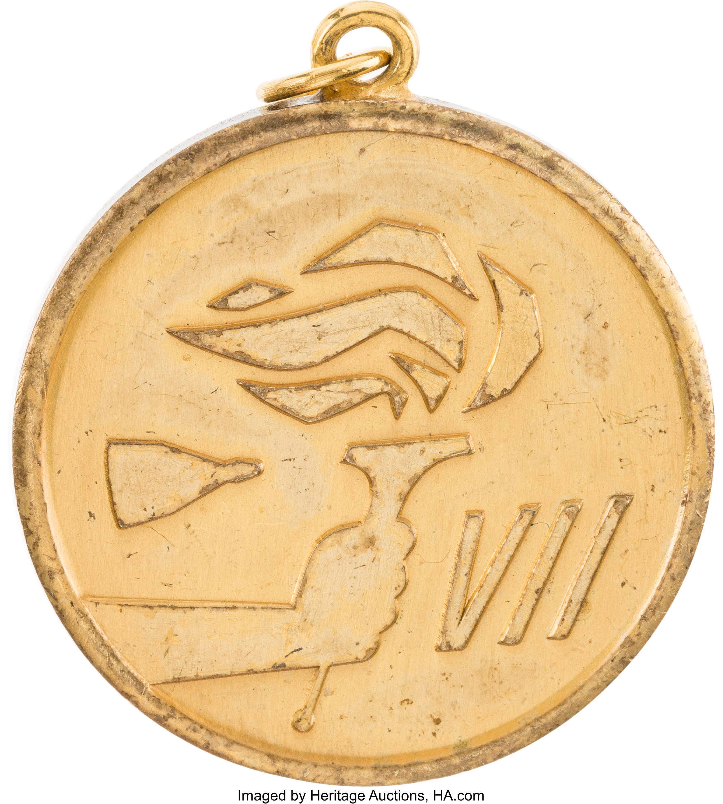 Gemini 7 Flown Gold-Colored Fliteline Medallion Originally from the Personal Collection of Astronaut Jerry Carr, with LOA