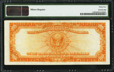 Fr. 1220 $1,000 1922 Gold Certificate PMG Choice Very Fine 35