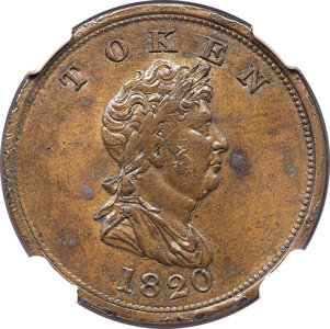 North West Company brass Unholed Token 1820 MS61 NGC