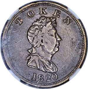 North West Company copper Unholed Token 1820 XF40 NGC