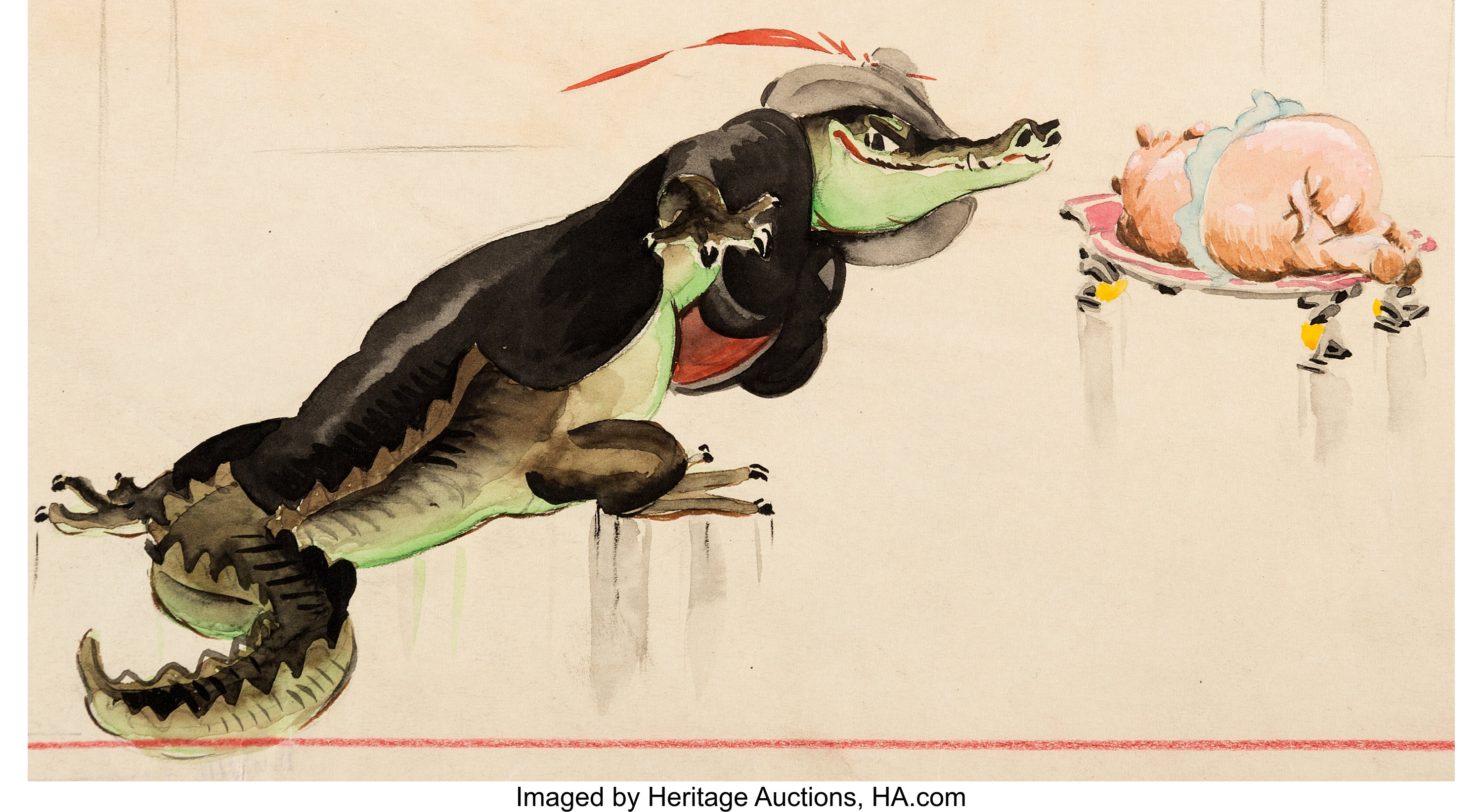 Fantasia Ben Ali Gator And Hyacinth Hippo Concept Painting