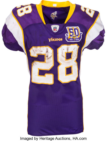 2010 Adrian Peterson Game Worn, Unwashed and Signed Minnesota ...