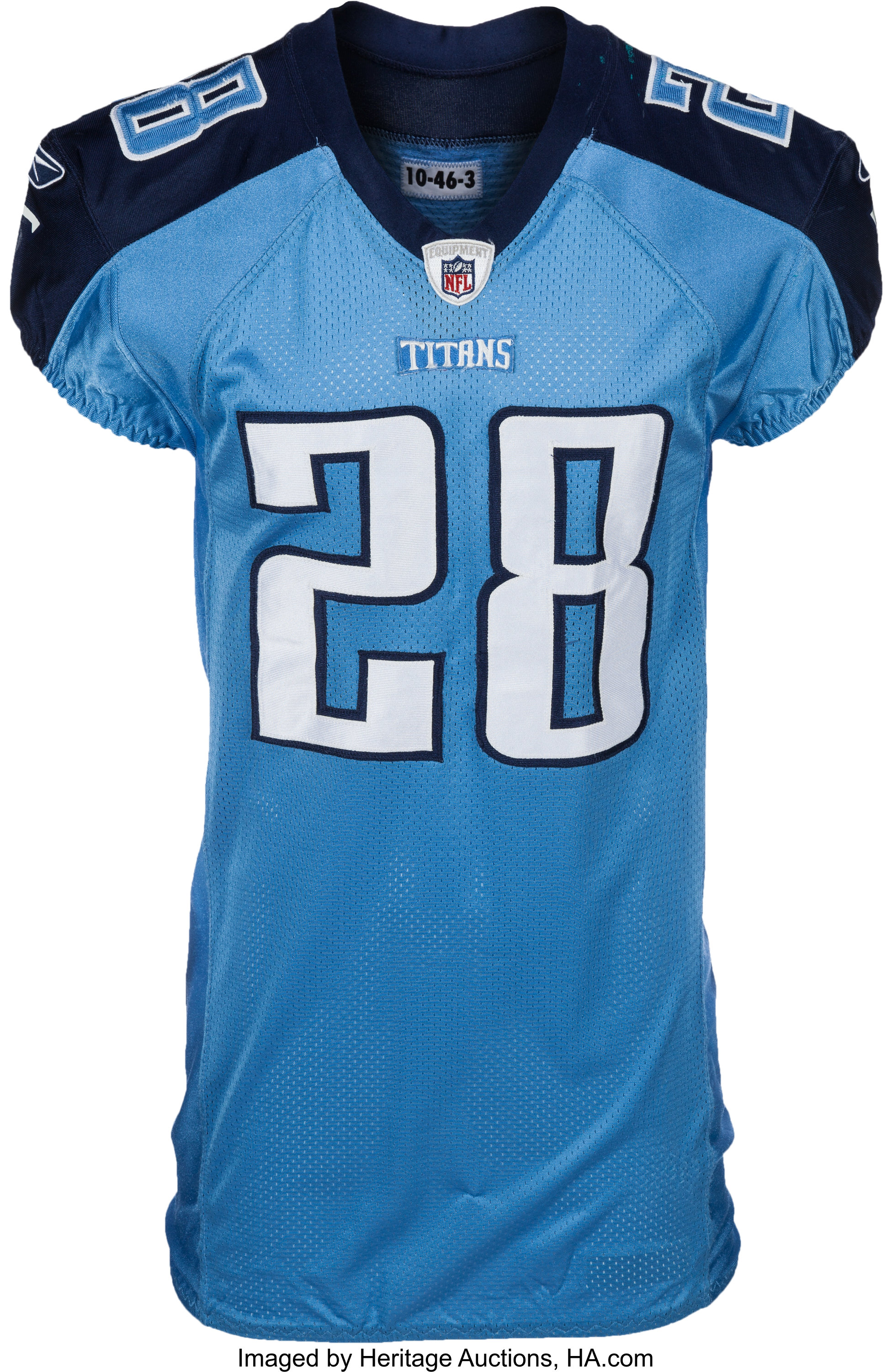 2010 Chris Johnson Game Worn, Unwashed Tennessee Titans Jersey ...