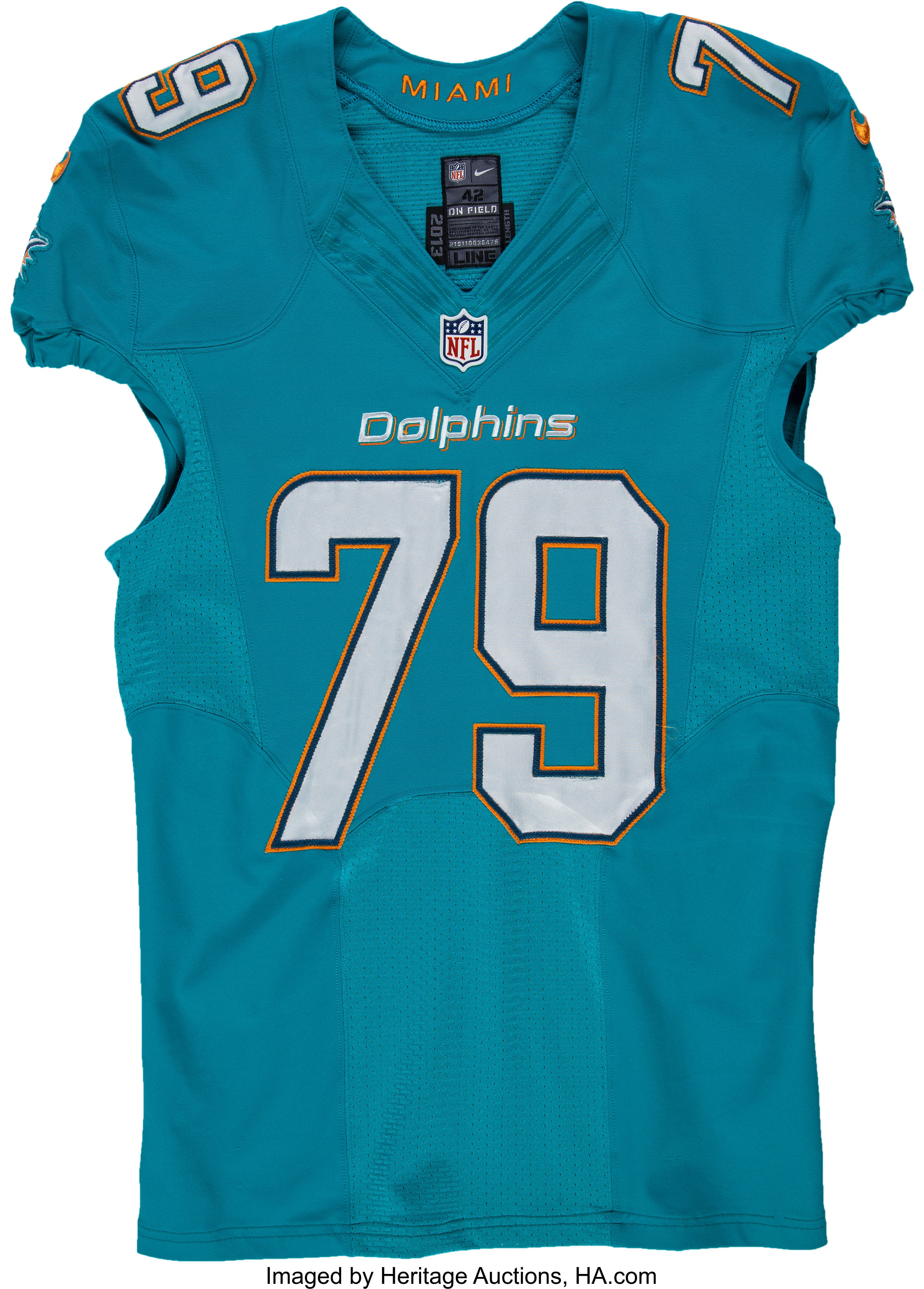 2013 Derrick Shelby Game Worn, Signed Miami Dolphins Jersey ...