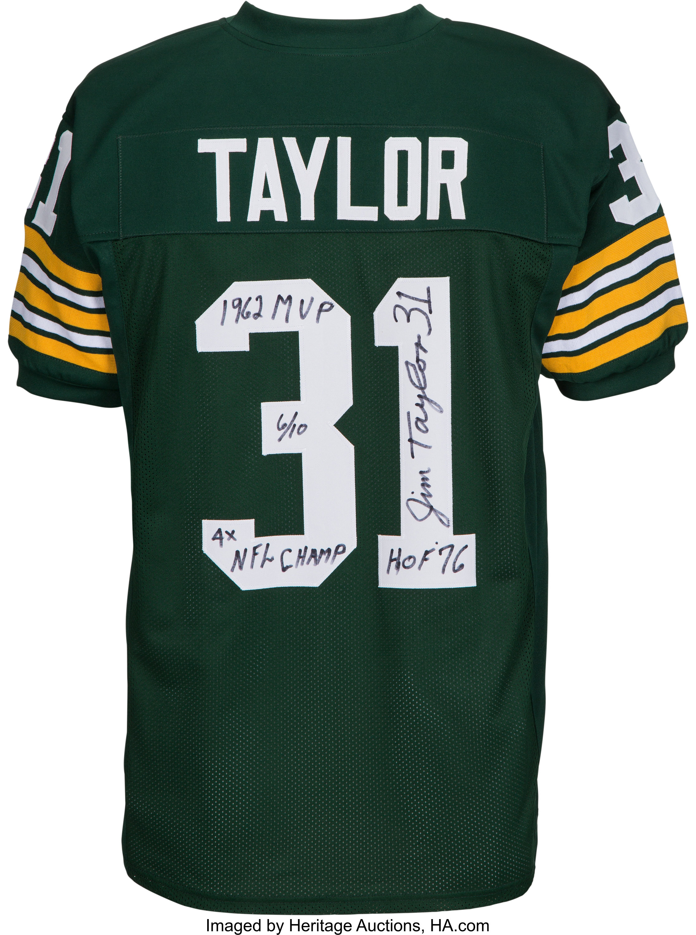 Jim Taylor Signed and Stat Inscribed Green Bay Packers Jersey ...