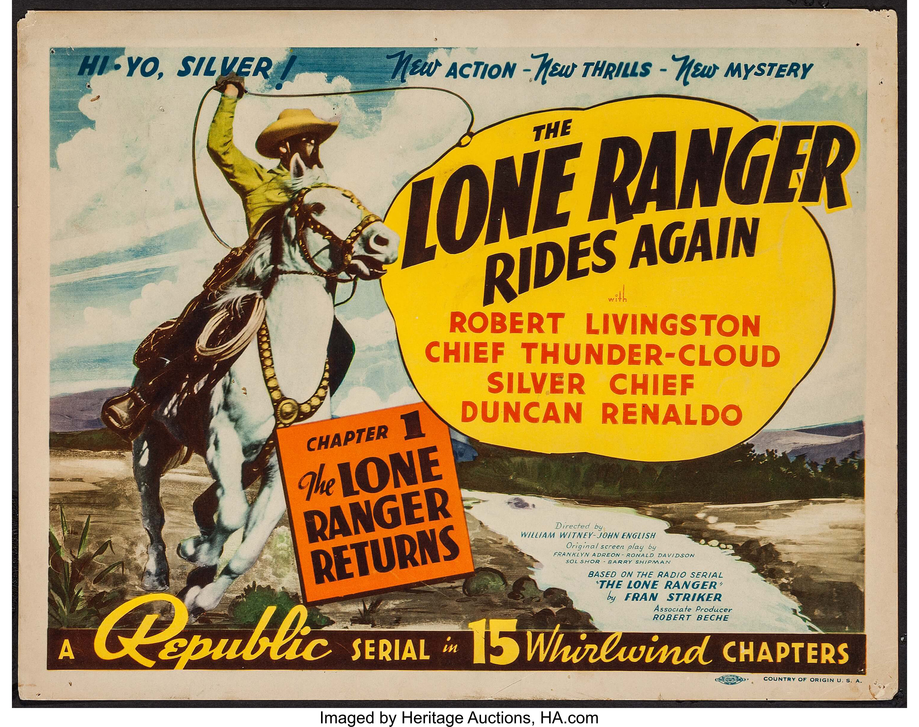 The Lone Ranger Rides Again (Republic, 1939). Title Lobby