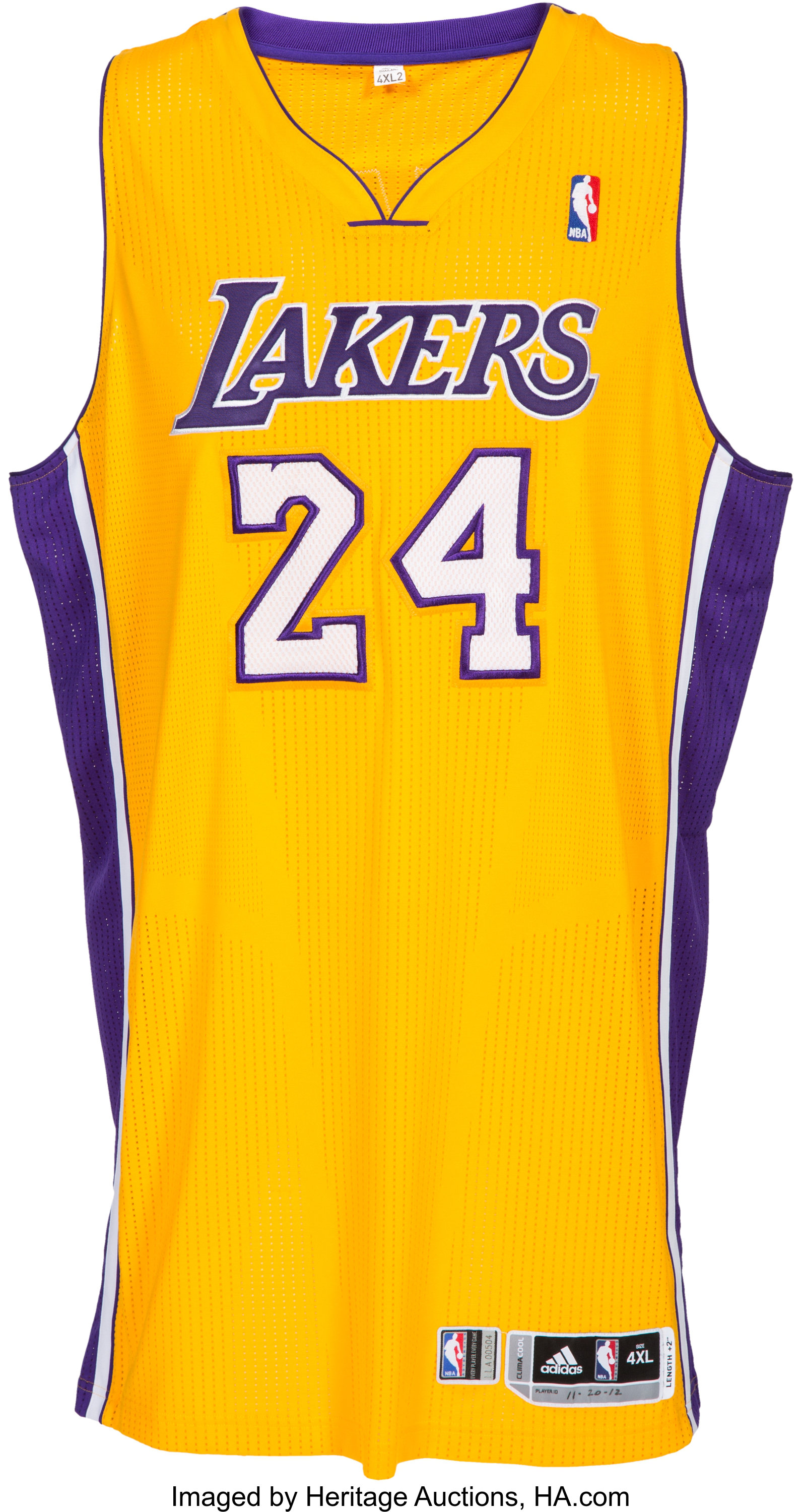 2012-13 Kobe Bryant Game Worn Los Angeles Lakers Jersey with Photo ...