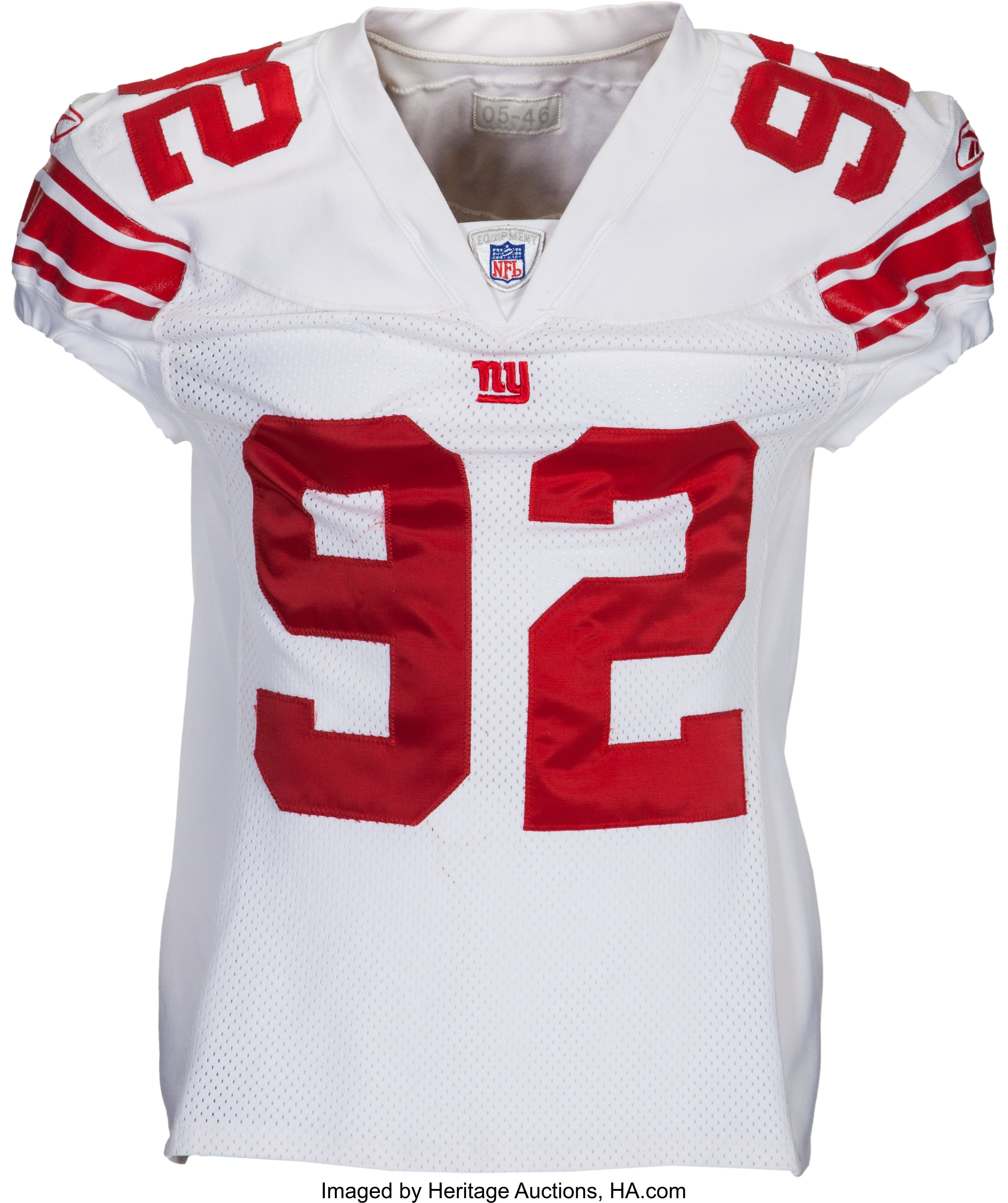 2005 Michael Strahan Game Worn New York Giants Jersey - With 5 ...