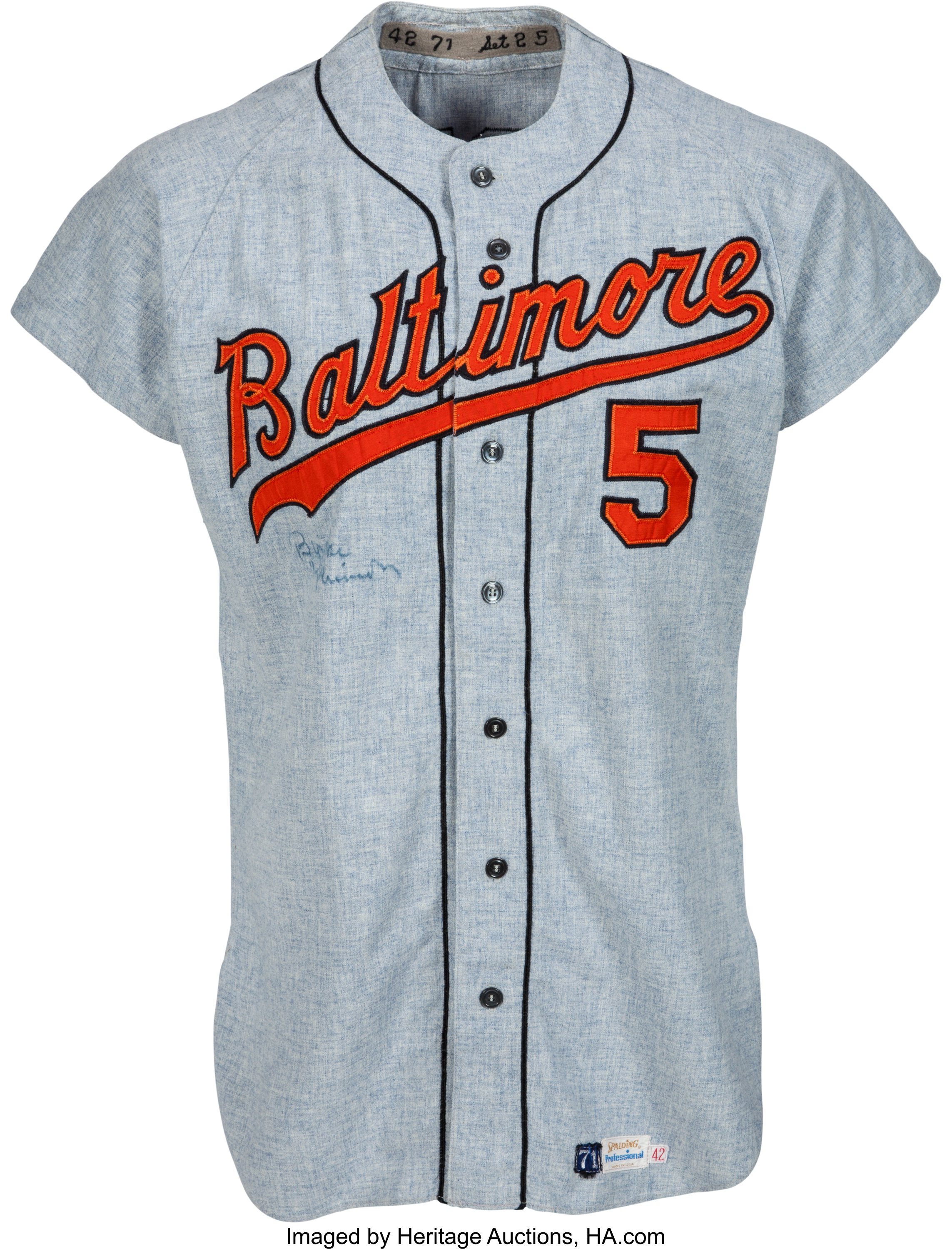 1971 Brooks Robinson Game Worn Baltimore Orioles Jersey, MEARS ...
