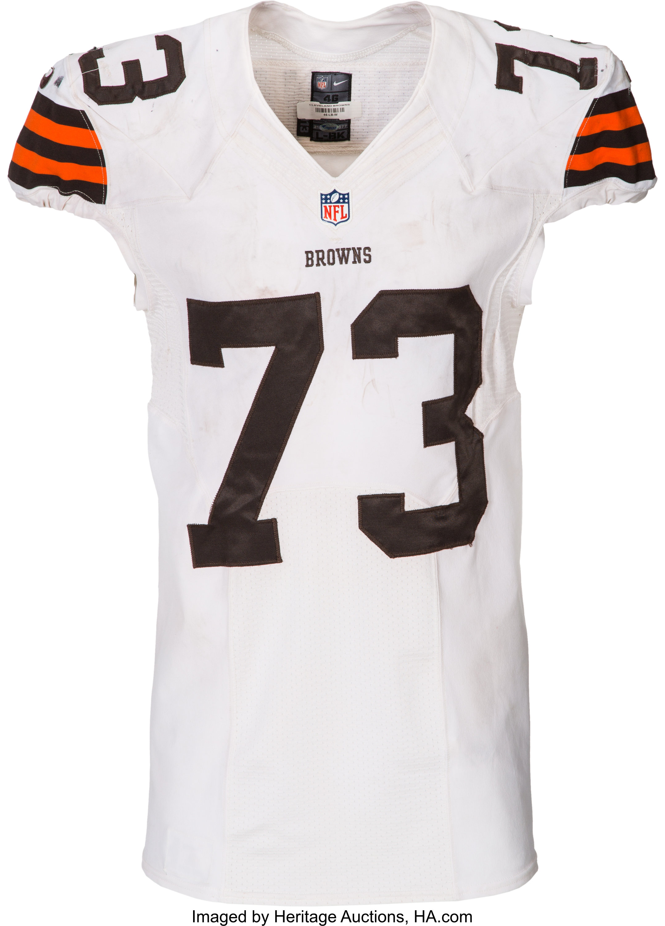 2014 Joe Thomas Game Worn, Unwashed Cleveland Browns Jersey with ...