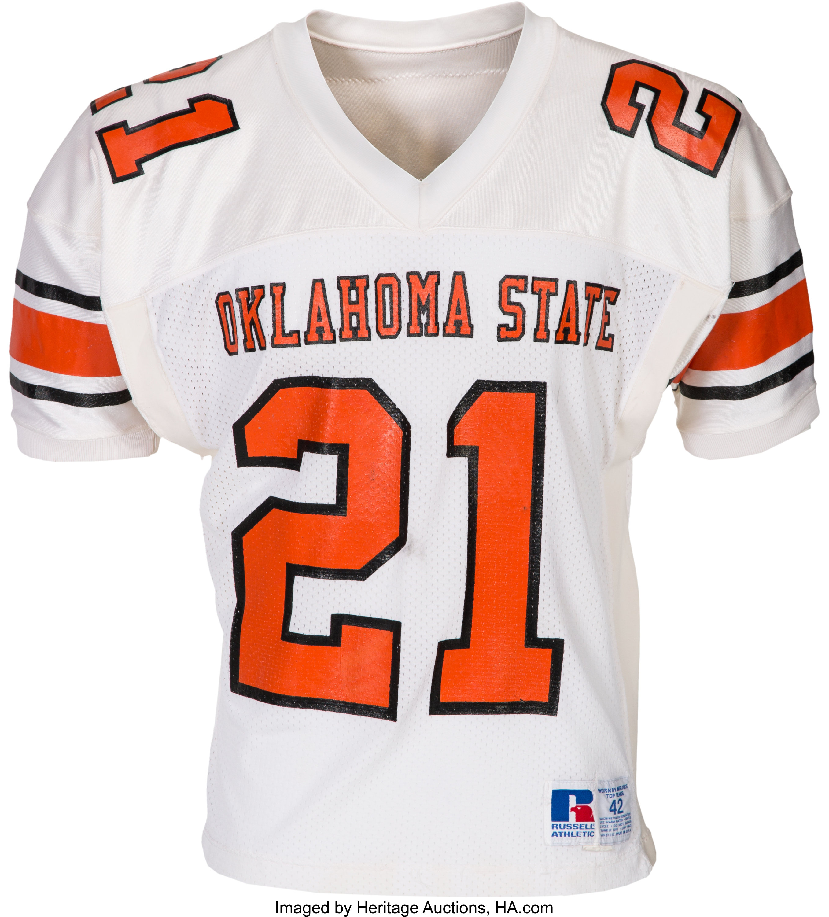 1986-88 Barry Sanders Game Worn Oklahoma State Cowboys Jersey ...