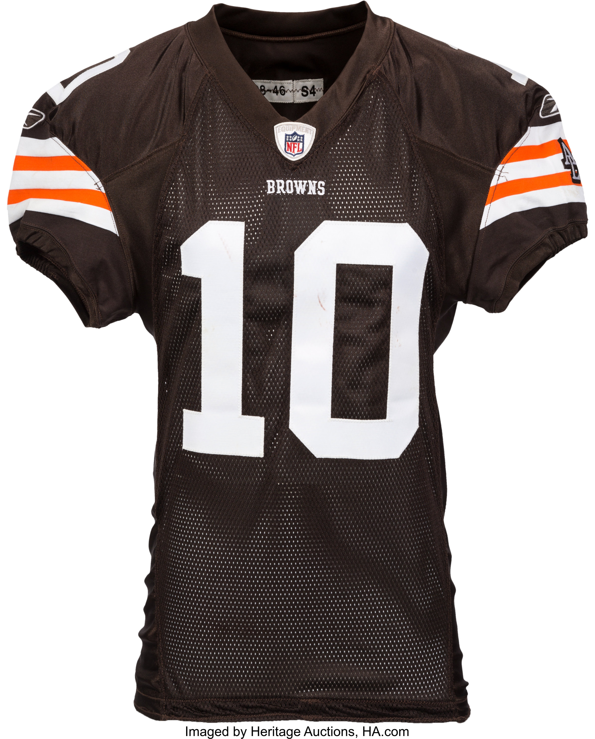 2008 Brady Quinn Game Worn, Unwashed Cleveland Browns Jersey and ...