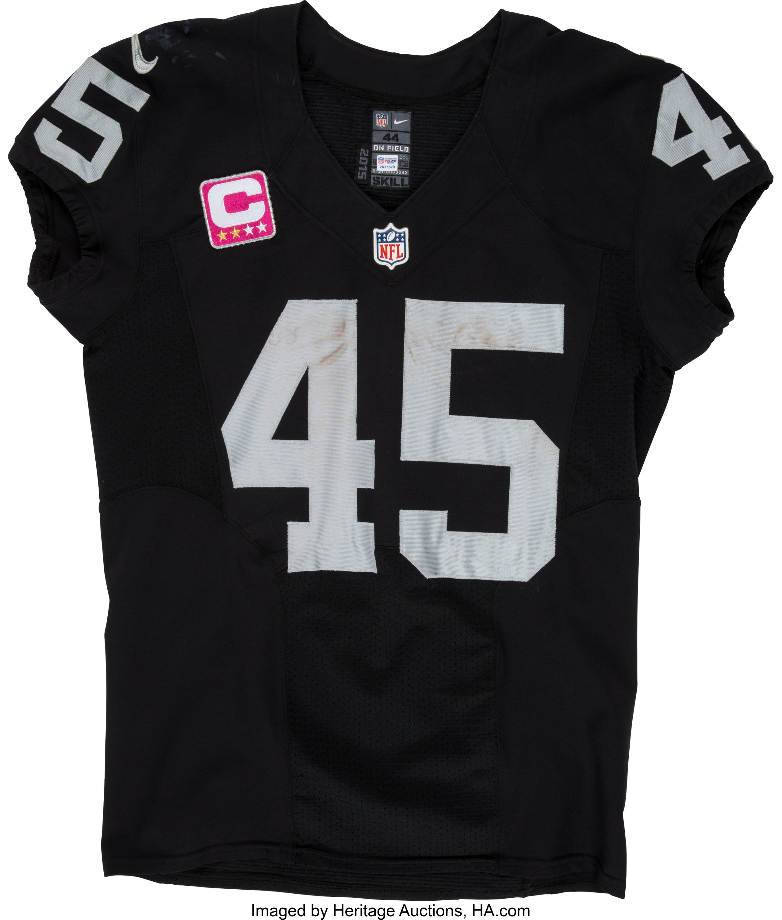 2015 Marcel Reece Game Worn, Unwashed Oakland Raiders Jersey ...