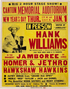 World's Most Expensive Concert Poster Hank Williams 1953 Canton, OH Genuine Original Concert Poster