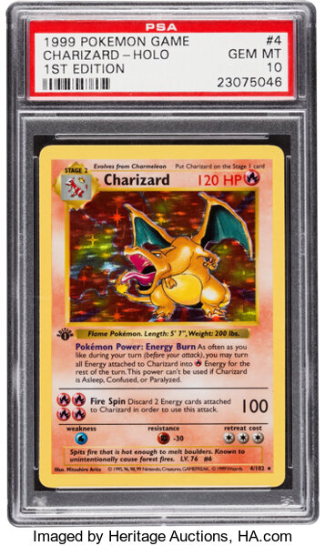 Pokémon Charizard #4 First Edition Base Set Rare Hologram Trading Card Heritage Auctions