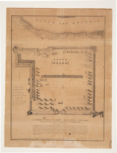 836 Joseph Chadwick Map of Col. James Fannin's Defenses at the Historic Site of the Battle of Goliad