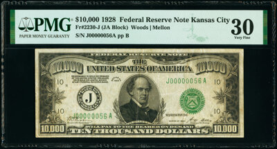 Kansas $10,000 1928 Federal Reserve Note