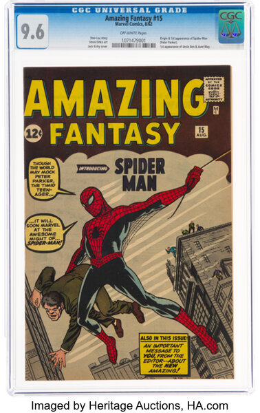 Amazing Fantasy #15 (Marvel, 1962) CGC NM+ 9.6 Off-white pages