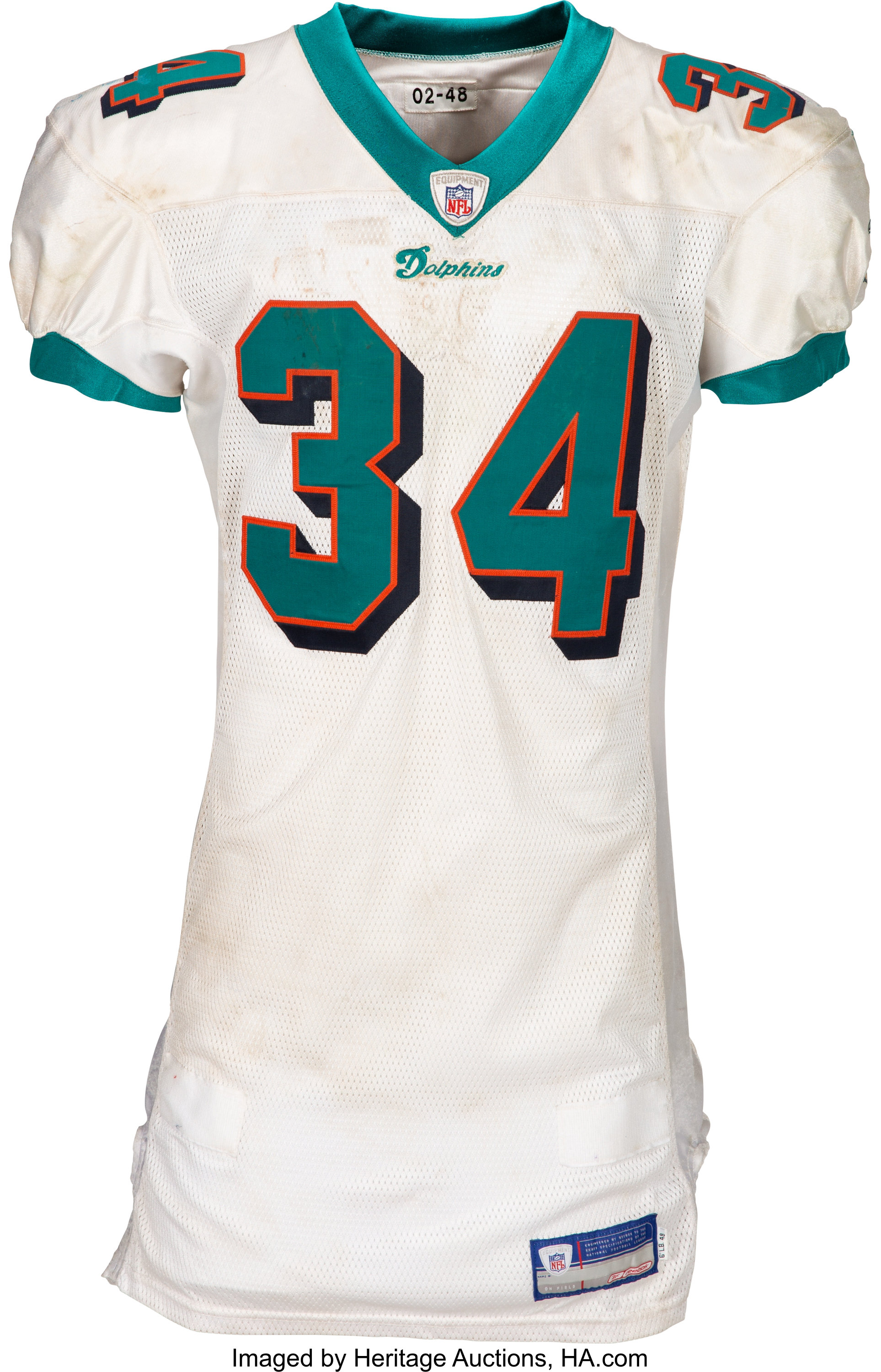 2002 Ricky Williams Game Worn, Signed & Unwashed Miami Dolphins ...