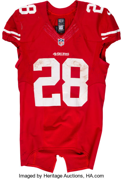 2015 Carlos Hyde Game Worn & Unwashed San Francisco 49ers Jersey ...
