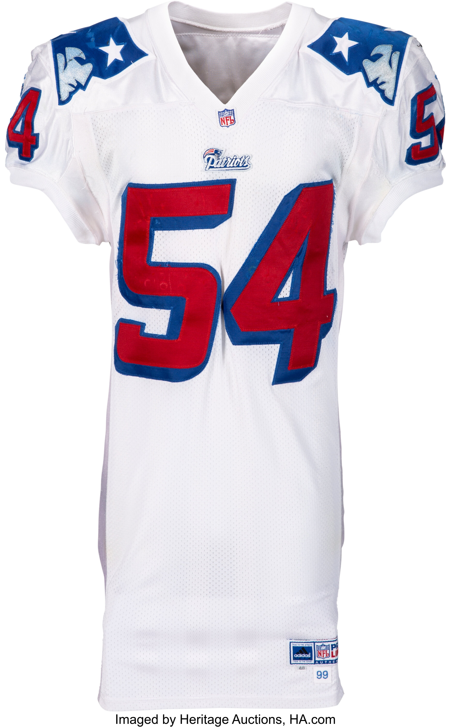 1999 Tedy Bruschi Game Worn New England Patriots Jersey - With ...
