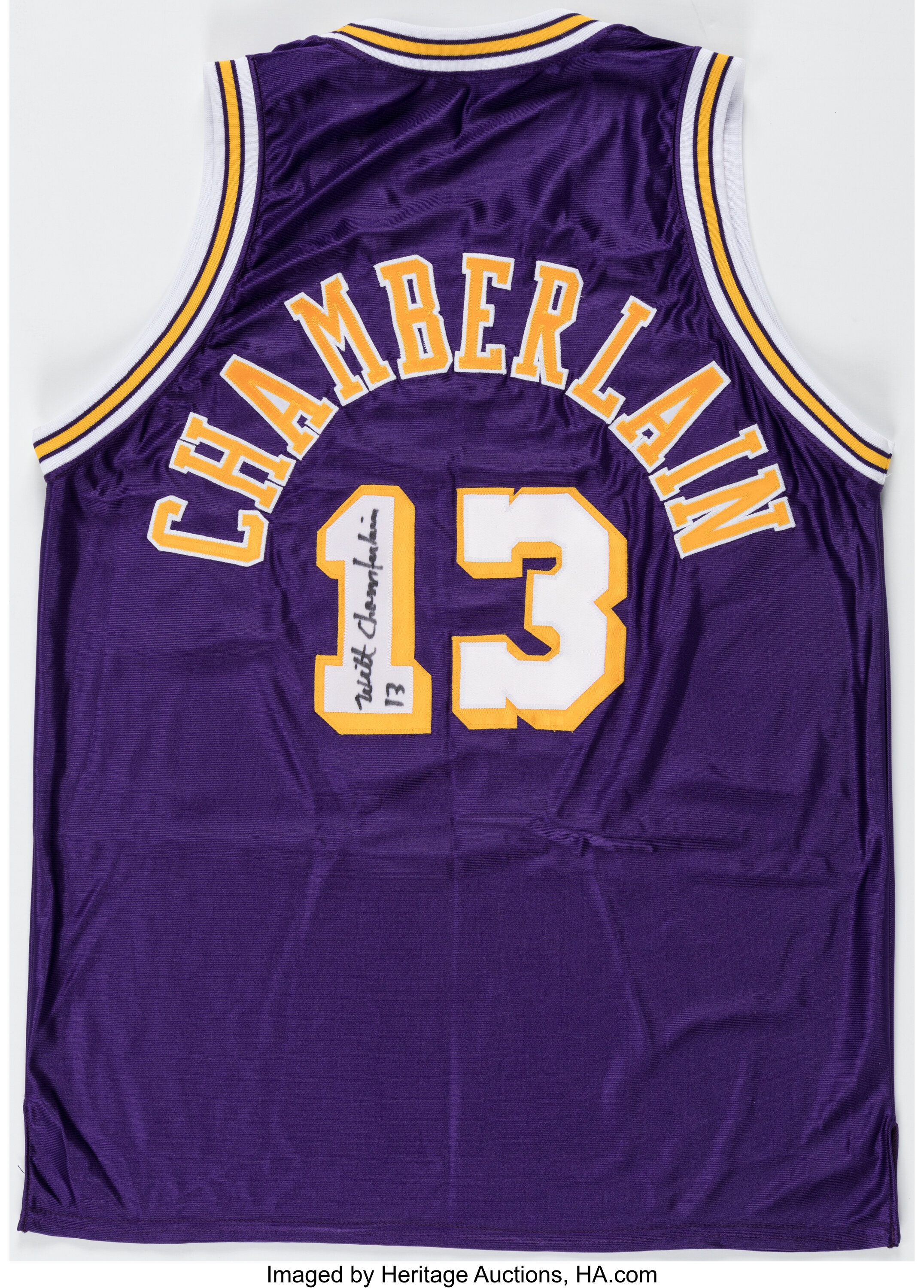 Wilt Chamberlain Signed & Inscribed Los Angeles Lakers Jersey ...