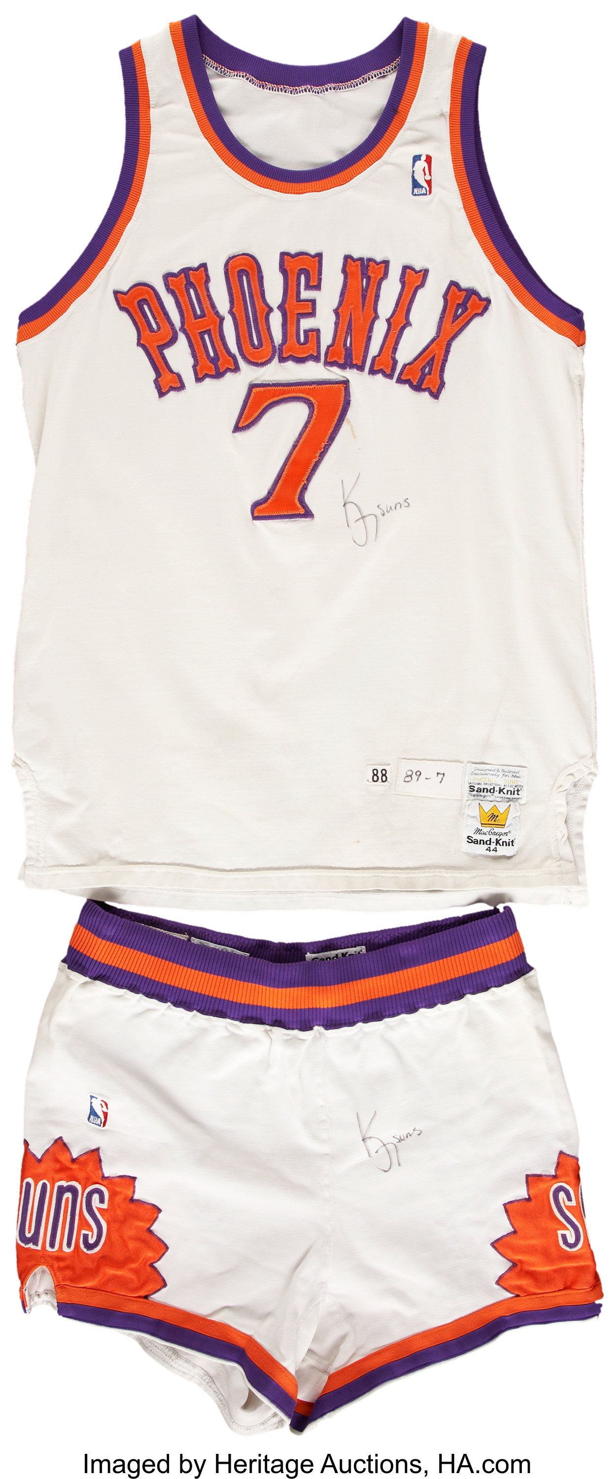 1988-89 Kevin Johnson Phoenix Suns Game Used Jersey and Shorts ...