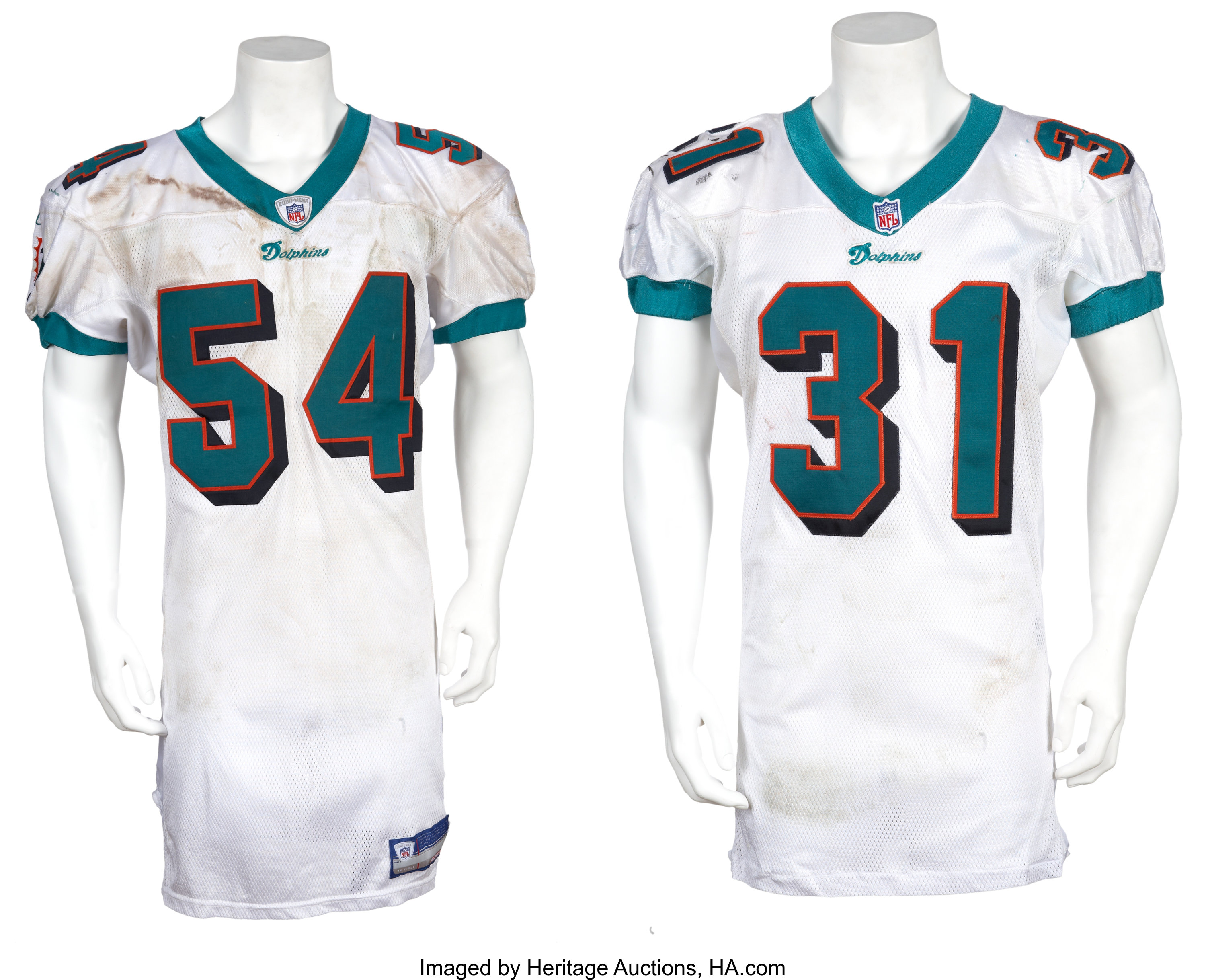 2001-02 Brock Marion and Zach Thomas Game Worn Jerseys -Unwashed w ...