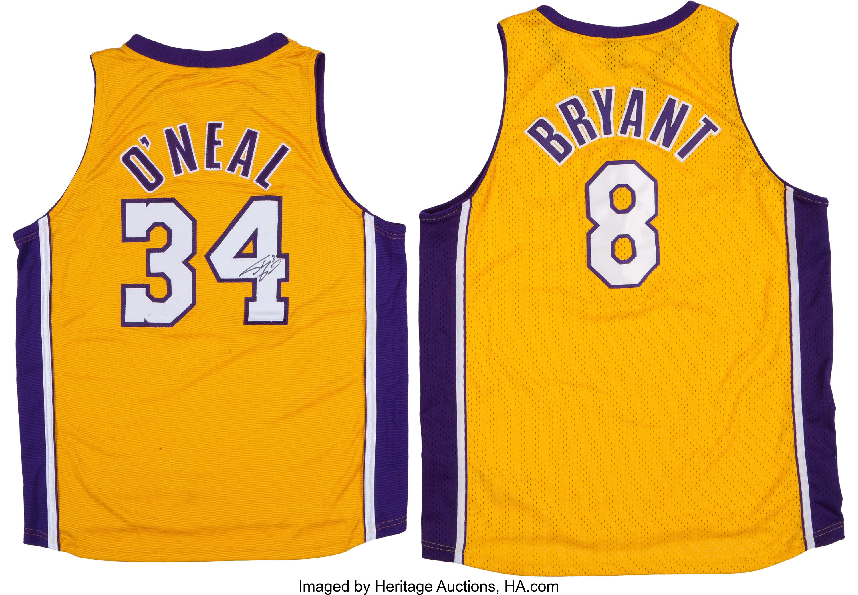 Shaquille O'Neal Signed Jersey and Unsigned Kobe Bryant Jersey ...