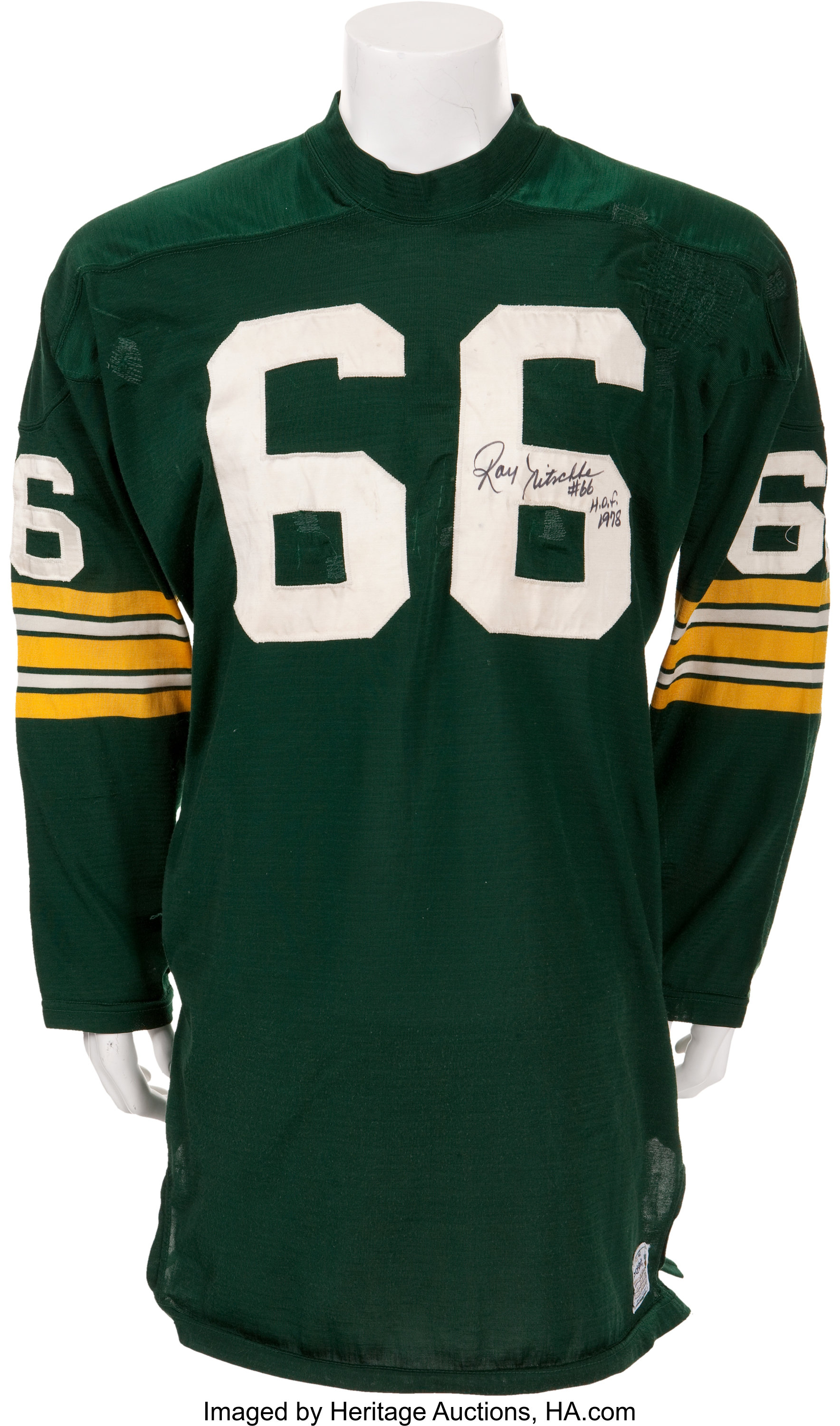 1970 Ray Nitschke Game Worn, Signed Green Bay Packers Jersey ...