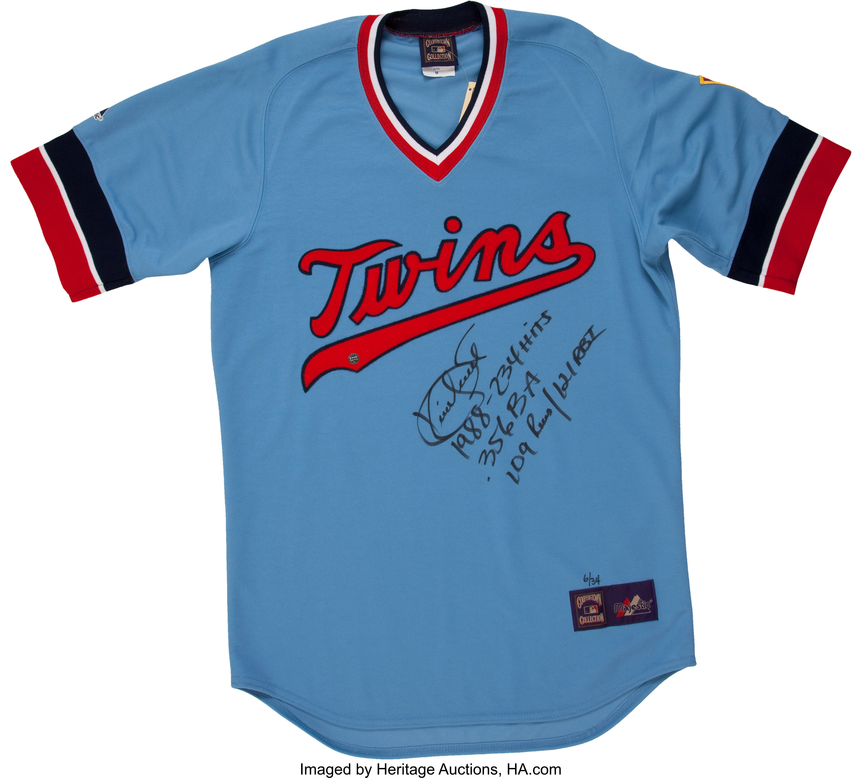 Kirby Puckett Signed and Inscribed Jersey.... Baseball ...