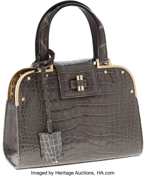 Saint Shiny Laurent Crocodile Small Yves Order Gray Special PlOXZiTkwu